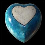 Urne cœur bleu et blanc