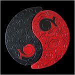 Y et y rouge et noir resine